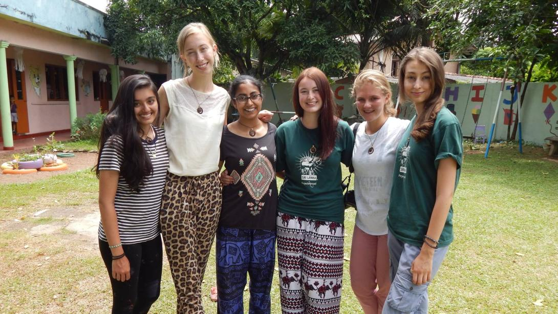 Volunteer with her peers during her transition year in Sri Lanka